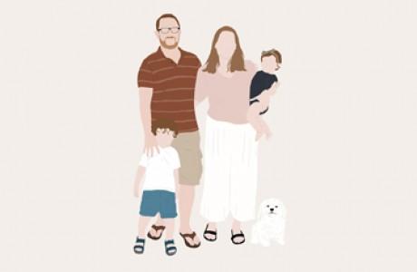 Family portrait 5-6 characters   Custom digital art