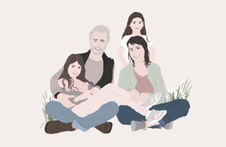 איור משפחתי 3-4 דמויות